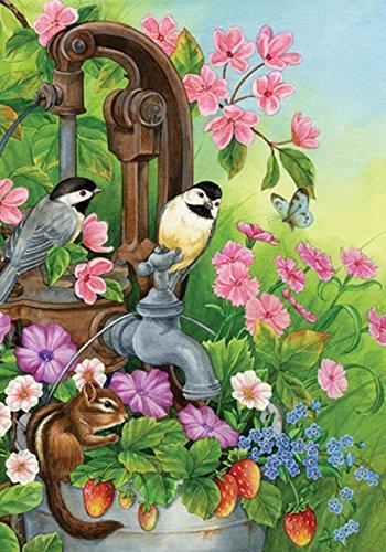Toland Home Garden Watering Time 12.5 x 18 Inch Decorative Cute Spring Bird Flower Floral Garden Flag
