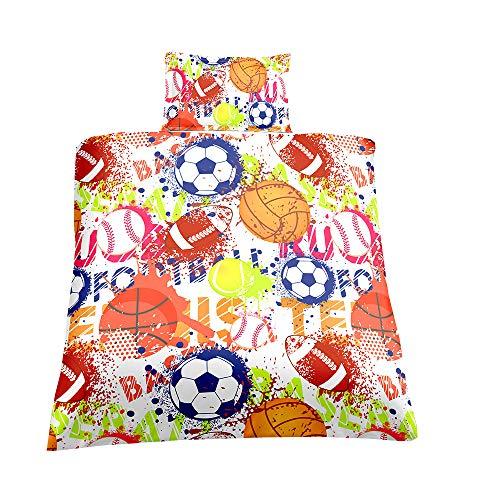 Bedding Set Duvet Cover with Pillowcase, Sport Theme Duvet Case Bed Set, Football Basketball Golf Print Pattern, Ideal for Kids Childrens Teen - Single, Multi Coloured