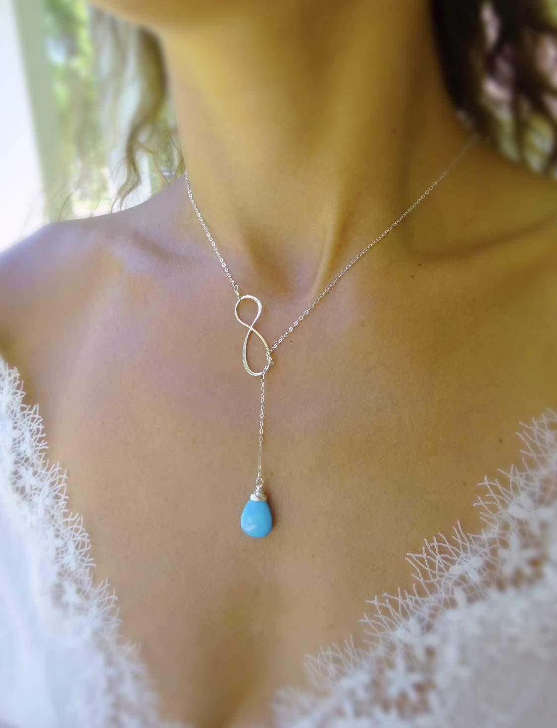 Infinity lariat Y Nashville-Davidson Mall necklace long gemstone custom free shipping turquoi plunging