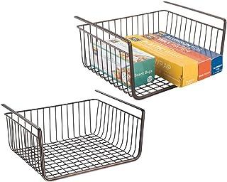 mDesign panier en métal (lot de 2) – boite de rangement pour la cuisine et le garde-manger – panier grillage robuste pour ...