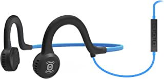 AfterShokz Sportz Titanium with Mic - Wired Open-Ear Bone Conduction Headphones with Microphone - Ocean Blue - 4 ft Wire - 12 Hr Battery Life - 2 Hr Charge Time - Standard 3.5 mm Audio Jack (AS451OB)