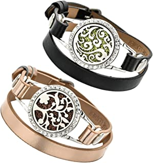 EXCEART 2Pcs Essentiële Olie Diffuser Armband Aromatherapie Medaillon Armband Parfum Armband Slide Healing Lederen Parfum...