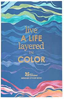 """Erin Condren Layers Sticker Book - 12 Sticker Sheets (529 Stickers Total) - Colorful Layers Design Theme, Folio Friendly Size 5"""" x 7.75"""" - Washi Tape, Collection of Metallics, Quotes"""