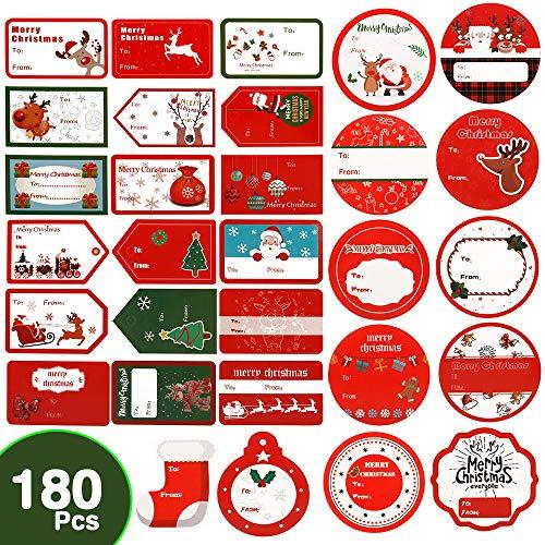 Coogam 180 stks Kerst Zelfklevende Gift Tags Sticker - Van en naar Stamp Present Naam Labels Vakantie geven Wrap Santa Snowman Xmas Ontwerp voor Kid Friend Familie (24 Sheets)