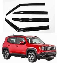 AUTOCLOVER Dark Smoke Side Window Vent Visor 4 Piece Set for Jeep Renegade 2015 2016 2017 2018 2019 / Safe RAIN Out-Channel Deflector
