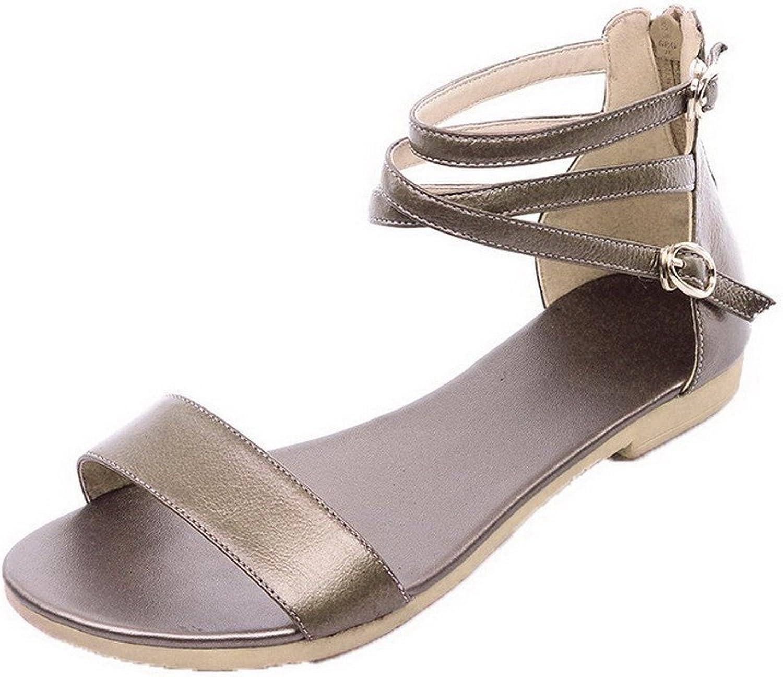 WeiPoot Women's Low-Heels Pu Solid Zipper Open Toe Sandals, EGHLH004669