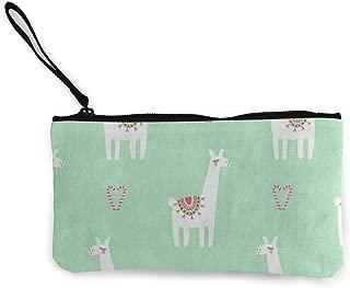 Canvas Coin Purse Cute Lama Candy Cane Heart Animal Customs Zipper Pouch Wallet For Cash Bank Car Passport