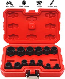 """13PCS Bolt Extractor, Impact Bolt Nut Removal Extractor Socket Set, 3/8"""" Square Drive Metric/Sac Size Locking Wheel Threading Hand Kit with Toolbox for Oil Drain Bolt Exhaust Manifolds Rusty Bolt Nuts"""