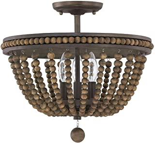 Austin Allen & Co 9A122A Handley - Three Light Semi-Flush Mount, Tobacco/Stained Wood Beads Finish