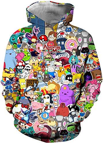Niños Sudaderas con Capucha 3D Impreso Hoodies Sweatshirt Bolsillos de Mangas Largas (Fiesta de Anime,11-12 años)
