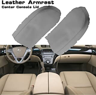 Hoypeyfiy Fits for 07-13 Acura MDX Center Console Lid Armrest Cover Real Leather Light Gray