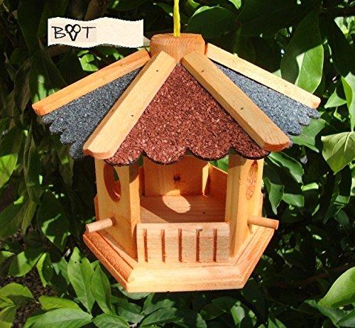 Vogelhaus, Gartendeko aus Holz Vöglehus Vogelvilla Vogelhaus, Design Vogelfutter mit ROT BLAUEM DACH B25r-b Vogelhaus - 2