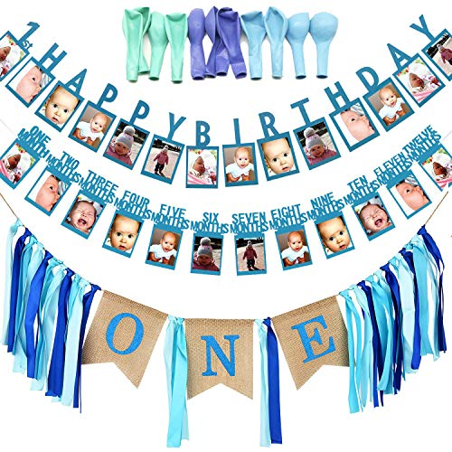 Allazone 1st Birthday Decoration, Blue First Birthday Banner Party Supplies Includes 12 Months Banner Baby Photo Banner, 1st Birthday Bunting Garland and 12 PCS Balloon for Boy, Birthday