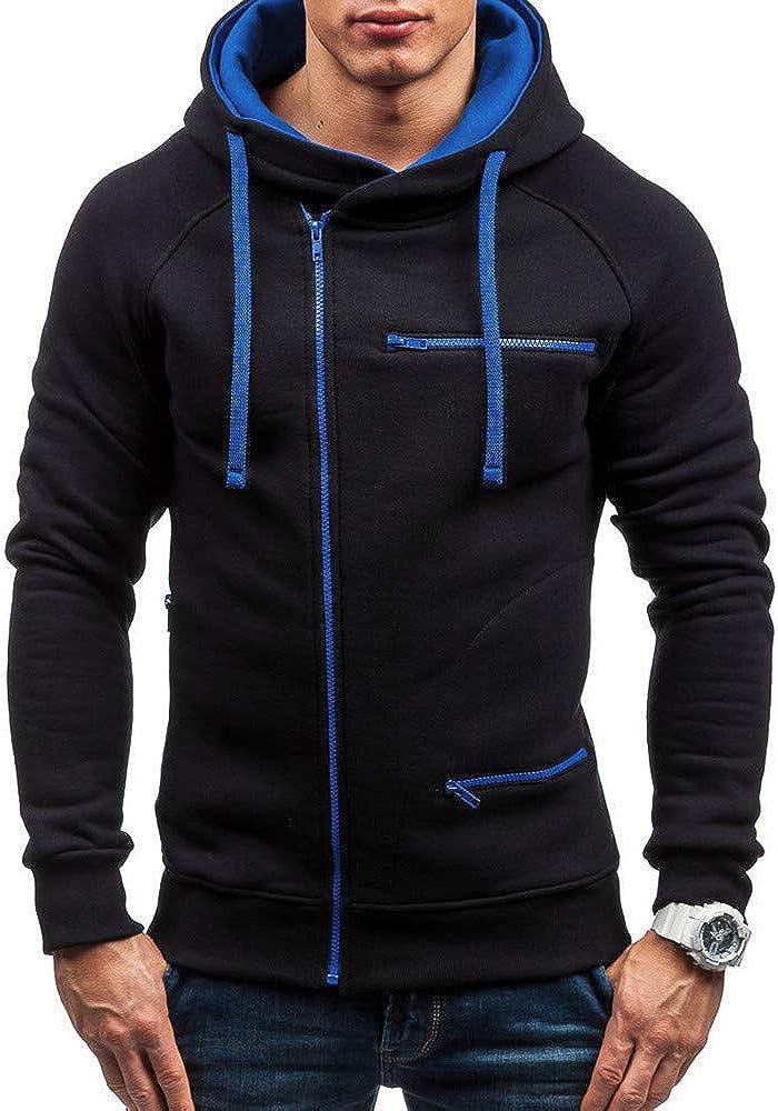 Mens Hoodies F_Gotal Autumn Solid Hooded Long Sleeve Casual Sweatshirt Top Outwear Sports Hooded Sweatshirts