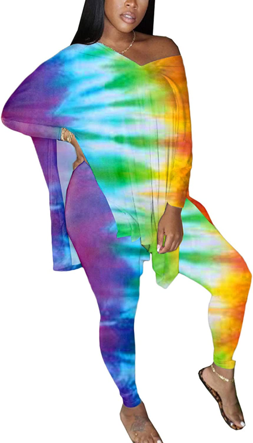 Plus Size Two Piece Outfits for Women Oversized Tops + Skinny Long Pants Sets Tracksuit Tie Dye Lounge Wear
