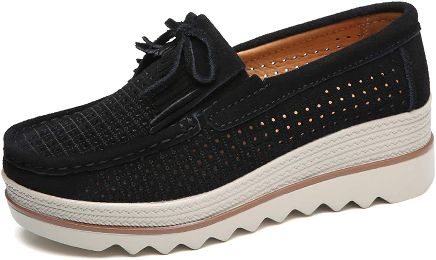 Ruiatoo Women Platform Slip On Loafers Comfort Genuine Suede with Tassel Hollow Out Low Top Moccasins Black 40