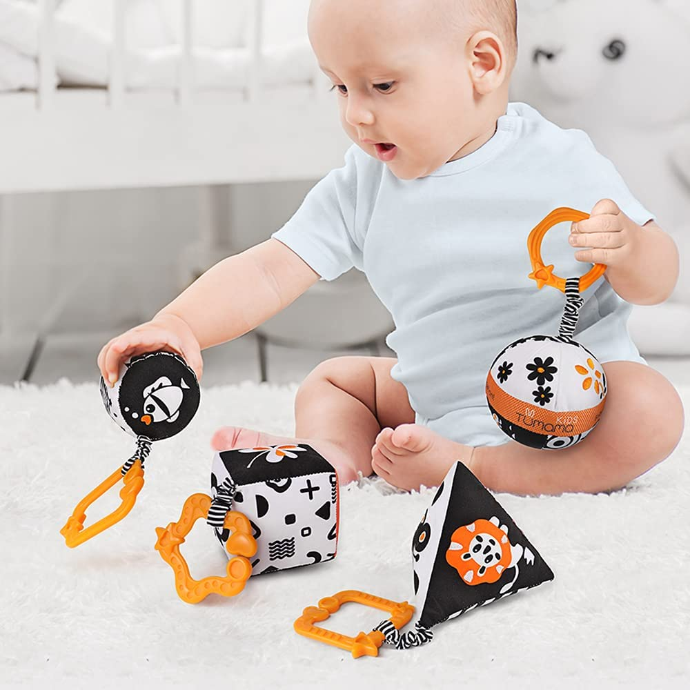 High Contrast Baby Toys for Newborn 3 6 9 12 Months, 4 Black and White Rattle Baby Hanging Toys, Car Seat and Stroller Toys for Traver, Sensory Soft Activity Shape Set Learning Cube
