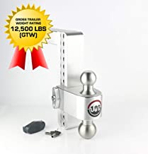 "Weigh Safe LTB10-2, 10"" Drop 180 Hitch w/ 2"" Shank/Shaft, Adjustable Aluminum Trailer Hitch & Ball Mount, Stainless Steel ..."