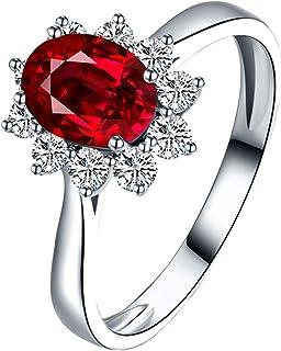 Daesar Anillos 18 Kilates Anillo Oro Blanco Love Flor Diamante 1 ct Rubí Anillo de Compromiso Oro Blanco