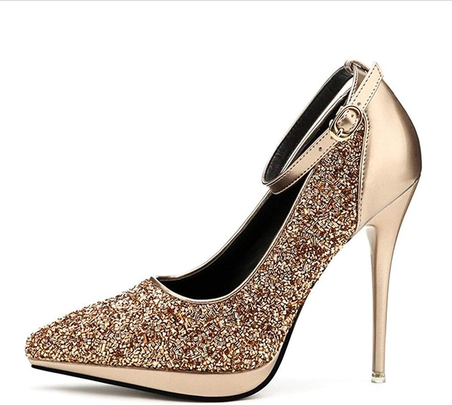 Court shoes Women's shoes shoes High Heel Pointed Nightclubs Sequin Sexy Fine Heel Woman Single shoes Haiming (color   gold, Size   6 US)