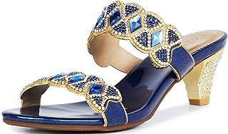 LizFoYa Sandalias de tacón bajo con doble correa para mujer con puntera abierta y diamantes de imitación