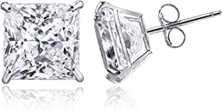 14K Solid Gold Cubic Zirconia Princess-Cut Solitaire Stud Earrings for Women and Men, Butterfly Push-Back