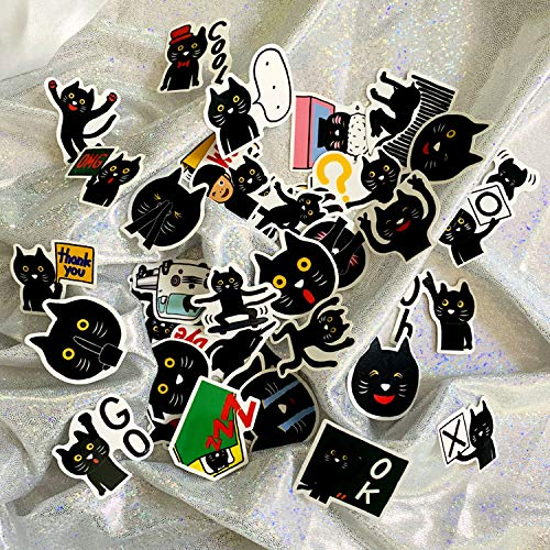 Hand Account Cartoon Cute Emoticon Bag Little Black Cat Notebook Graffiti Suitcase Foreign Trade Children Waterproof Sticker 40pcs