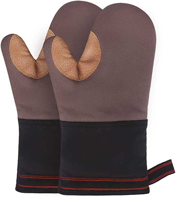 Esafio Oven Mitts Recycled Cotton Infill Terrycloth Lining Kitchen Oven Mitts 500 Heat Resistant