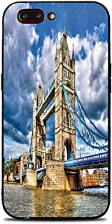 Phone Case Compatible with iphone7 Plus iphone8 Plus Brandnew Tempered Glass Backplane,London,Historical Tower Bridge on River London UK British Day Time International Heritage Decorative,Multicolor,A
