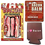 Bacon Addicts Triple Sampler Gift Pack (3pc Set) - Bacon Air Freshener, Bacon Lip Balm & I Love Bacon Insulated Can Cooler