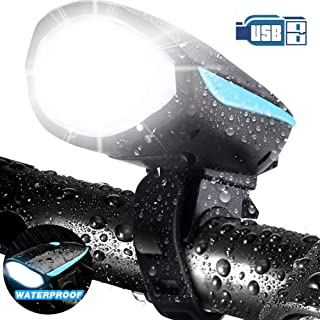 LETOUR Bike Light with Loud Bike Horn, Rechargeable Bicycle Light Waterproof Cycling Lights, Bicycle Light Front with Loud...