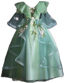 Aoluqiqing Vestido para niñas Niña de Las Flores Niños Primavera Princesa Falda Vestido Esponjoso (Verde Bosque) Sección L...