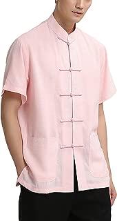 Nidicus Men Vintage Comfort Fit Short Sleeve Cotton Linen Button Down Shirt