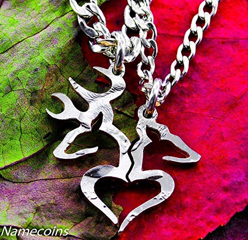 Buck and Doe Country Couples necklace set, Hunters Gift, Hunting Season, By NameCoins