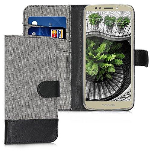 kwmobile Carcasa Compatible con Motorola Moto E5 - Funda Protectora con Tapa Tarjetero y Soporte - Gris/Negro