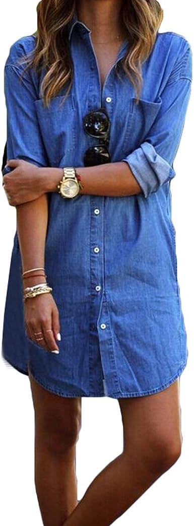 hibote Mujer Casual Blusa de Jeans Camisa de Vestir Mini ...