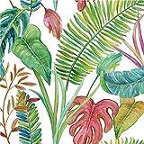 Servietten (2er Set / 40Stück) 3-lagig 33x33cm Blätter Palmen Philodendron aquarell