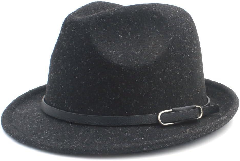 GR Autumn Elegant Lady Gangster Trilby Felt Homburg Church Jazz Hat Classico100% Wool Women Men Fedora Hat for Winter (Color : Black, Size : 57-58cm)