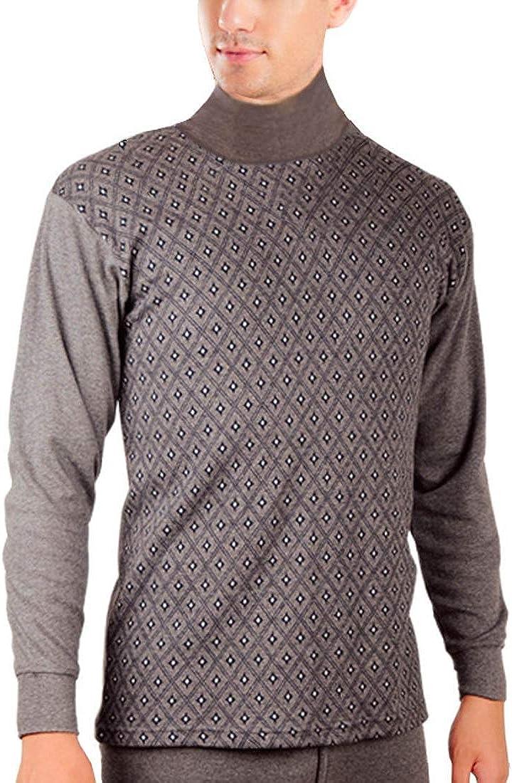 LuckyBov Men 2-Pieces Sleep Wear Comfortable Turtle Neck Cotton T-Shirt and Pants Set