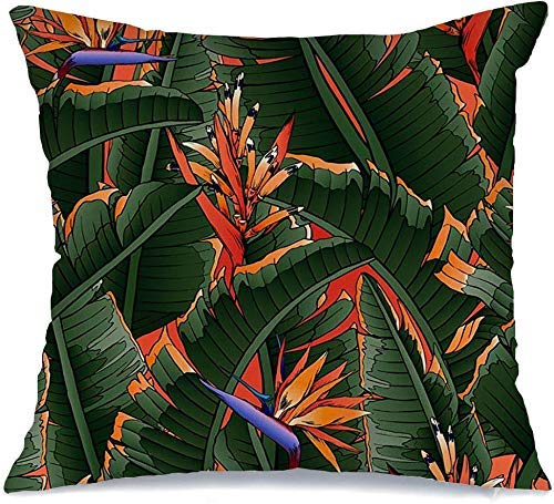 Funda de Cojine Throw CojínSelva exótica natural Patrón tropical Hojas de safari Planta Madera Palmera Árbol femenino Verano Colorido Fundas para almohada 45X45CM