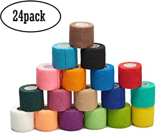 LDS-JL 2 inch Vet Wrap Tape Bulk, FDA Approved, Cohesive Bandage, Self Adherent Rap, Adhesive Stick, Dog Cat Horse,Assorted Colors 24 Packs