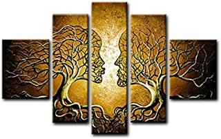 FLY SPRAY Golden Aureate Oil Paintings Abstract Canvas Wall Art 5-Piece Panels Stretched Framed Ready Hang Lover Kiss Flora Human Tree Living Room Home Decor