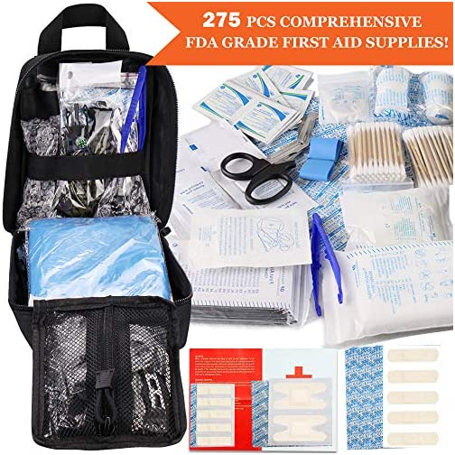 Monoki First Aid Survival Kit, 302Pcs Tactical Molle EMT IFAK Pouch Outdoor Gear EDC Emergency Survival Kits First Aid Kit Trauma Bag for Hiking Camping Hunting Car Travel or Adventures 5