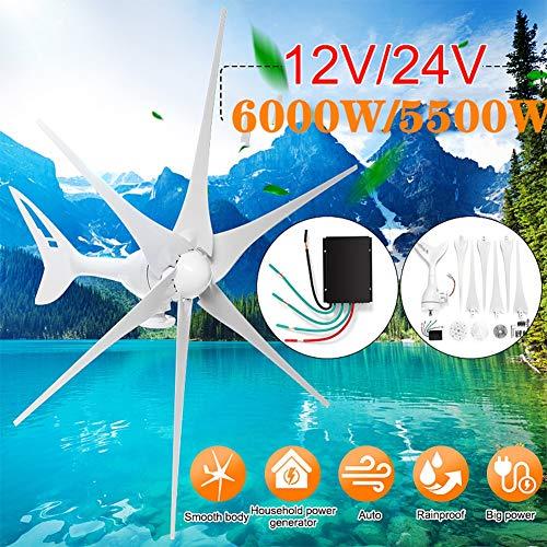 GJZhuan 2020 5500W / 6000W 12V / 24V Windgenerator + Controller 6 Blade-Windkraftanlagen Horizontale Startseite Powers Windmühle Energieanlagen Lade (Voltage : 24v 6000w)