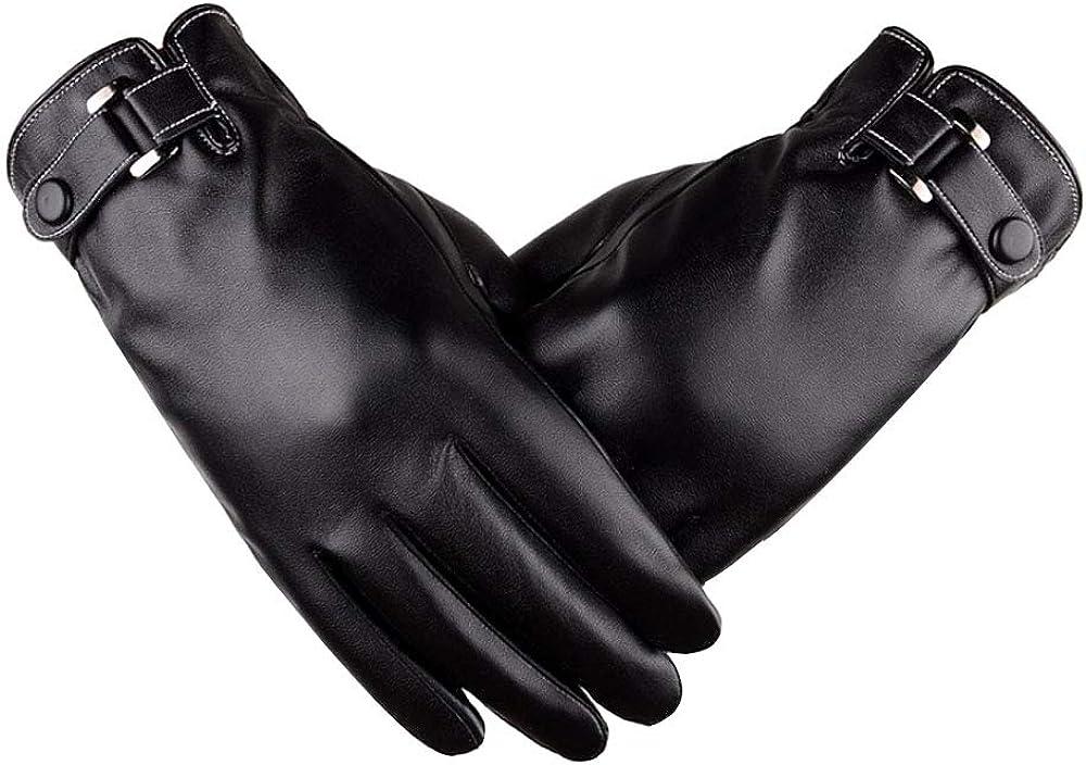 Sun Kea Men's Faux Leather Touchscreen Gloves Driving Winter Warm Mittens