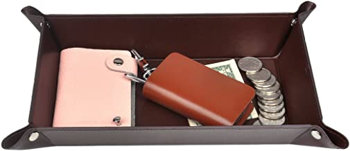 365park Valet Tray, PU Leather Catchall, Jewelry Key Wallet Phone EDC Tray for Men Women