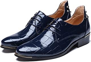 XinQuan Wang Men's Fashion Oxford Casual British Style Classic Retro Grid Texture Patent Leather Formal Shoes (Color : Blue, Size : 7 UK)