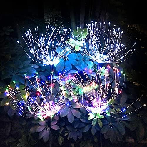 Flintronic -Luces Solares al Aire Libre Starburst, 2 luces de Fuegos Artificiales Solares de 150 LED, 50 Cuerdas de Alambre de Cobre, Luces Solares de Estallido de Estrellas,Multicolor