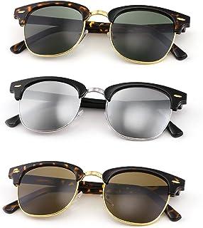 FEISEDY Sunglfor Men Women Finish Semi-Rimless Frame Driving Sun glMirror Lens 100% UV Blocking B2242 (3 Pack)