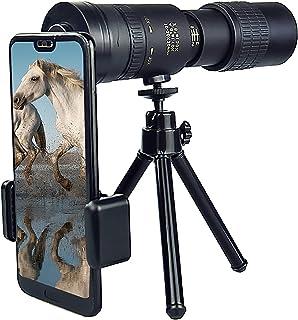 4K Waterproof Fog Monocular Telescope 10-300x40mm Zoom High Power HD Monocular with Smartphone Holder & Tripod Bak4 Prism ...